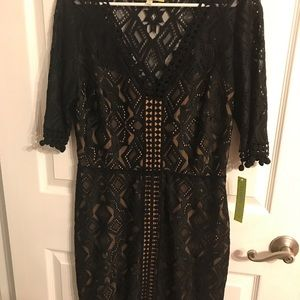 NWT Gianni Bini black lace/nude cocktail dress